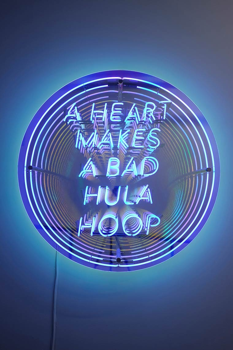 A-Heart-Makes-A-Bad-Hula-Hoop_2014_neon-acrylic-mirror-MDF-Plexiglass-dichroic-film-chrome-hardware_48x48x8inches-alt2