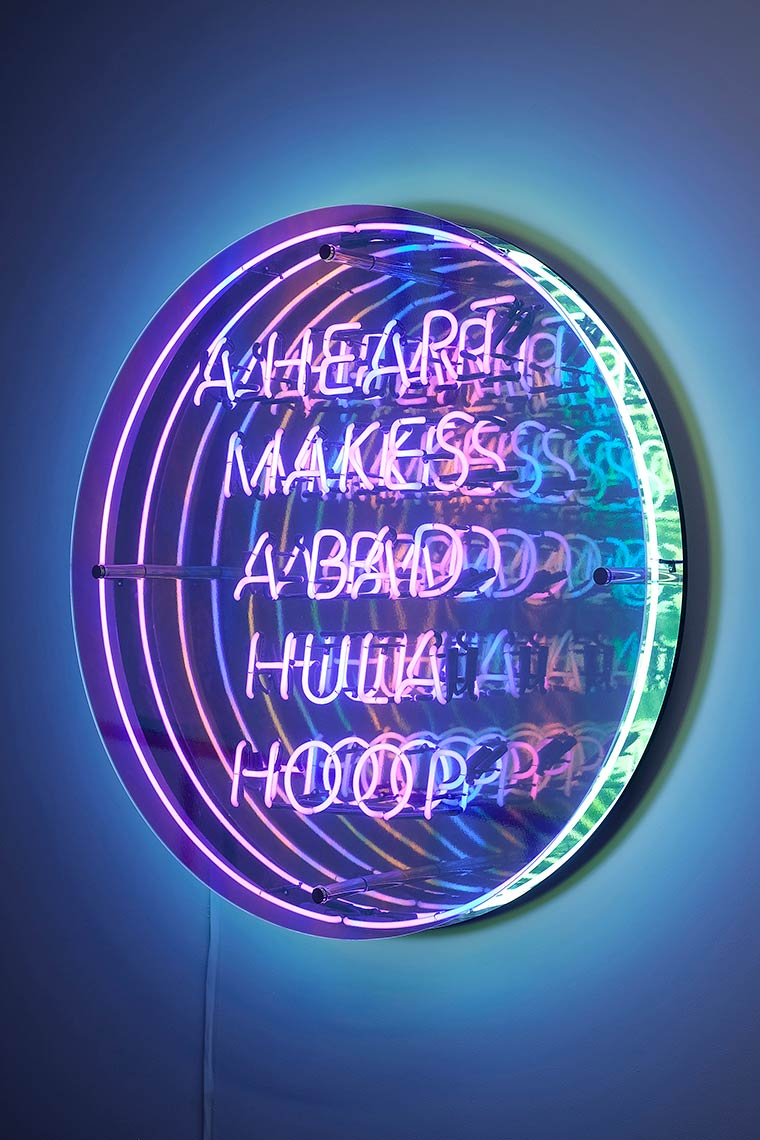 A-Heart-Makes-A-Bad-Hula-Hoop_2014_neon-acrylic-mirror-MDF-Plexiglass-dichroic-film-chrome-hardware_48x48x8inches