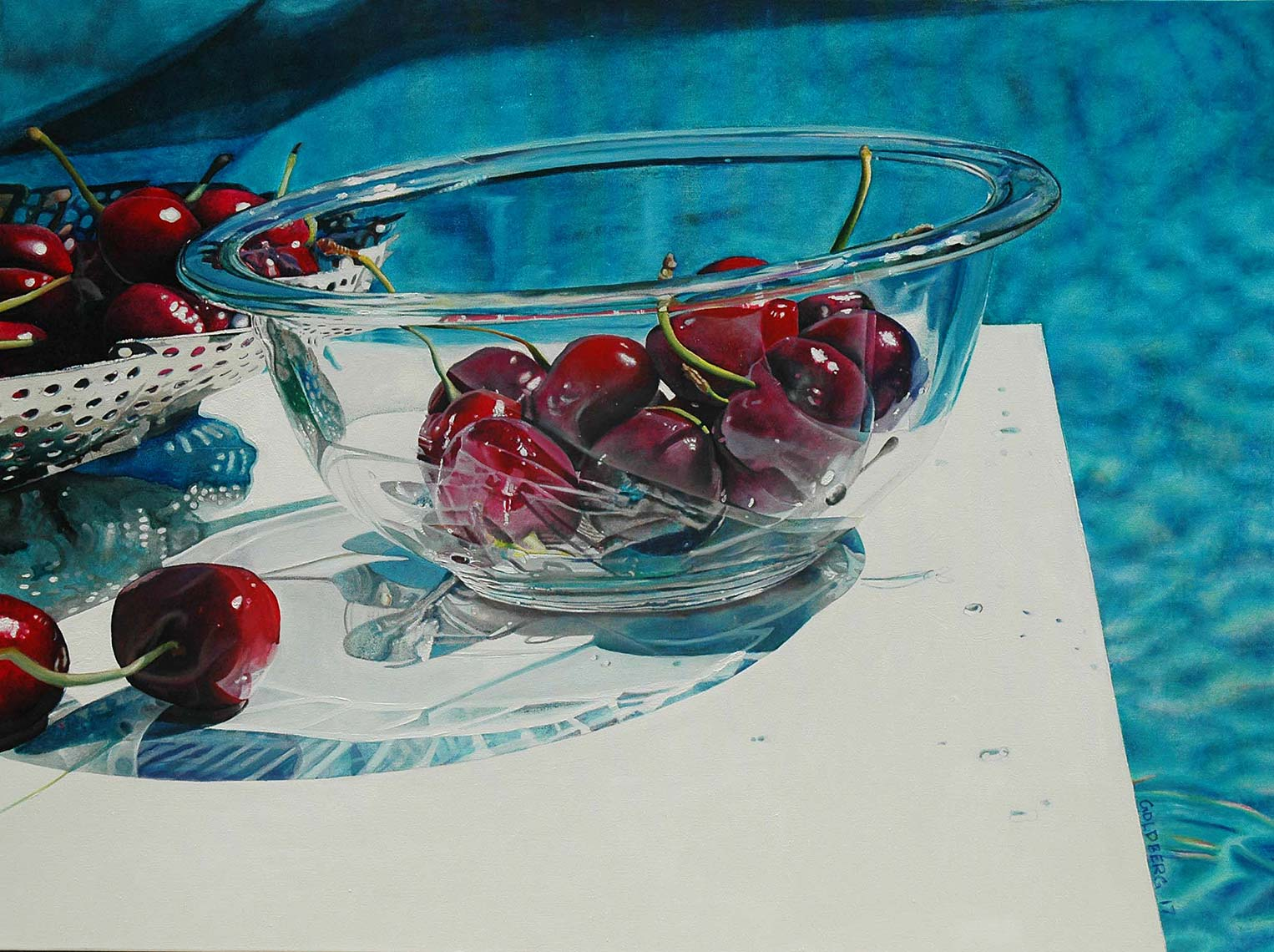 Cherries-by-the-Pool-36x48-Oil-on-Canvas