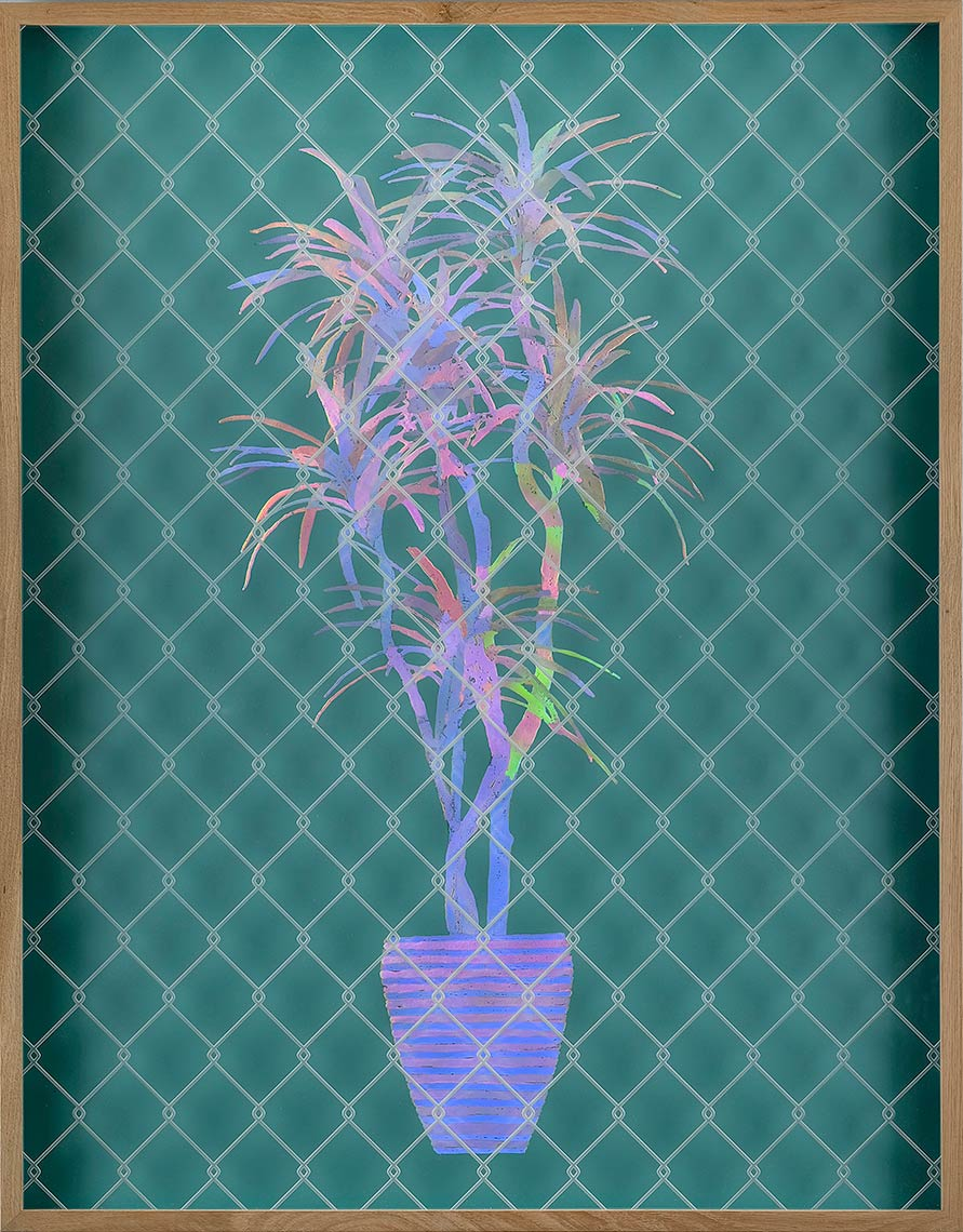 Future-Plant-Series---Green_2016_Acrylic-holographic-foil-on-Alupanel_32-x-40-inches