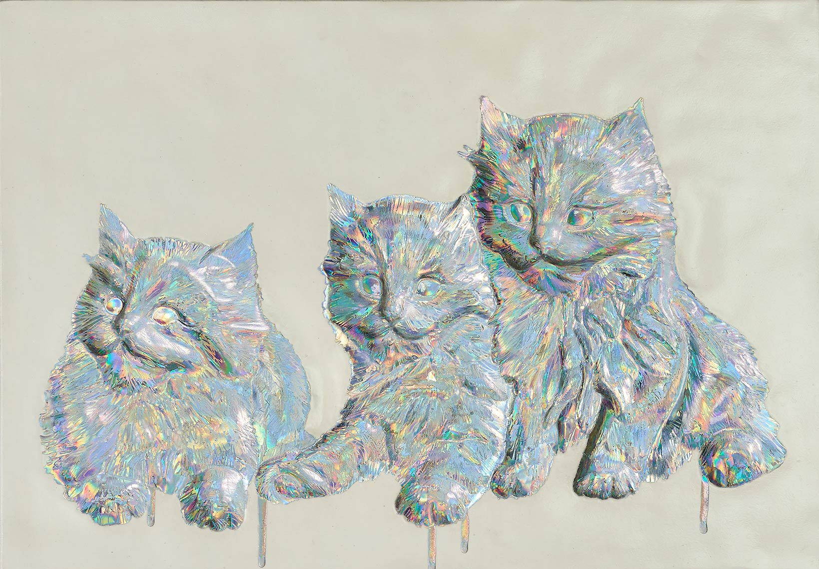 Kitties_2015_holographic-foil-on-relief-cast-hydrostone-plaster_16-x-20-inches