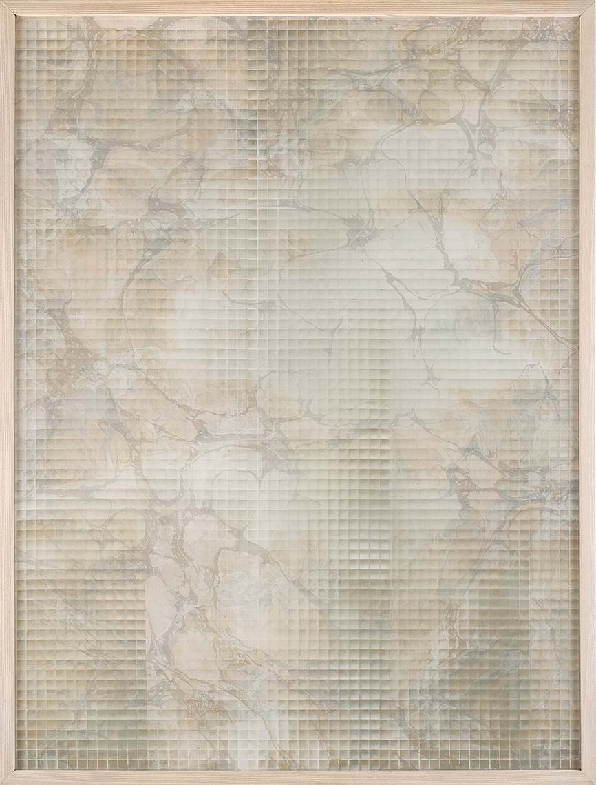 Olive-Grid_2016_spray-paint-on-hand-marbled-silk-hand-marbled-paper_48x36-inches