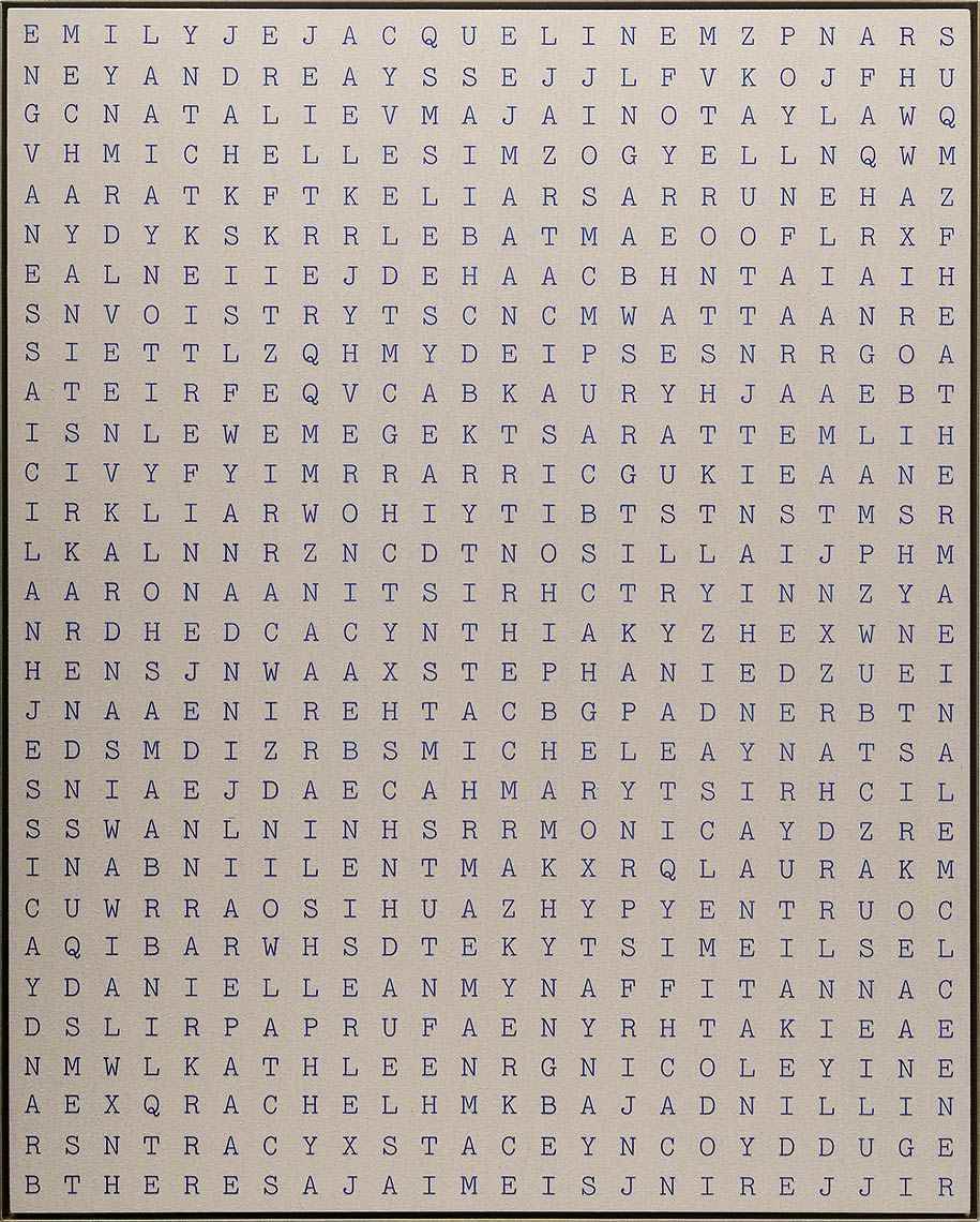 Popular-Girls-Names-in-1977_2016_acrylicflocking-on-raw-linen_60x48inches