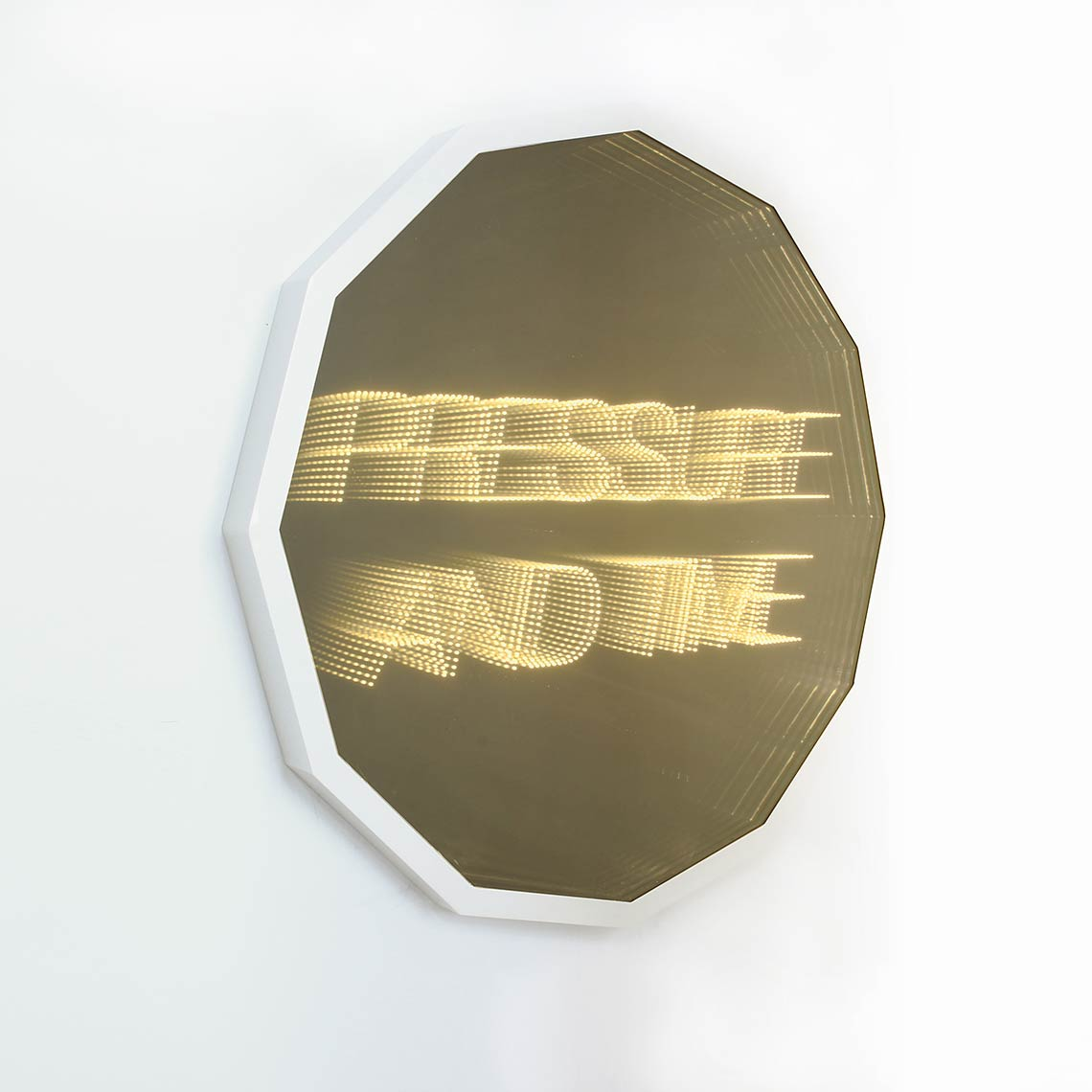 Pressure-And-Time_2014_glass-gold-mirror-tint-LEDs-plexiglassm-mirror-aluminum-frame_48-x-48-inches