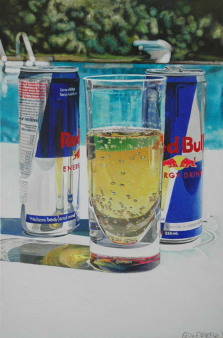 Red-Bull-by-Pool-24x36-Oil-on-Canvas-2017