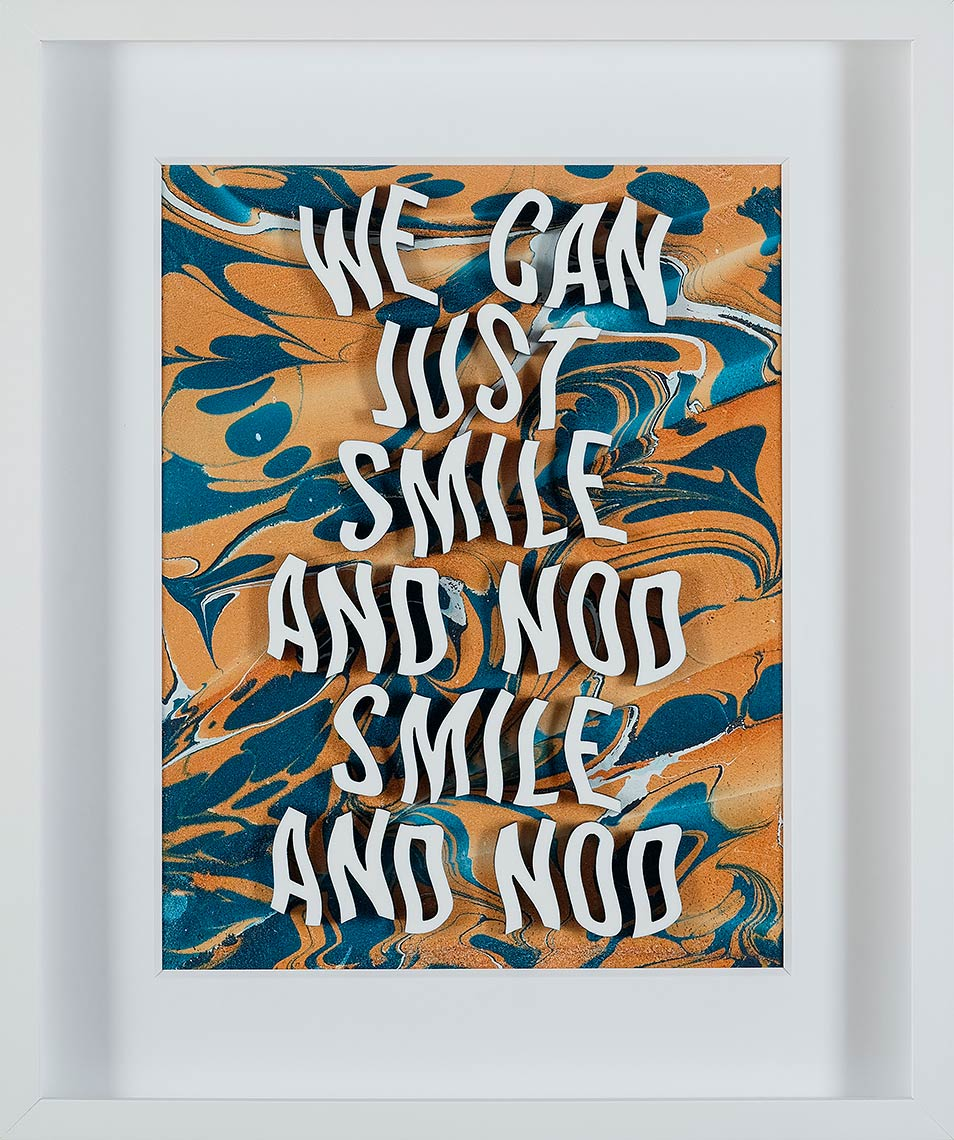 We-Can-Just-Smile-and-Nod_2018_hand-marbled-acrylic-and-laser-cut-plexiglass-on-leather_18-x-21-inches